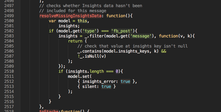 A text editor with colored JS code on a dark background