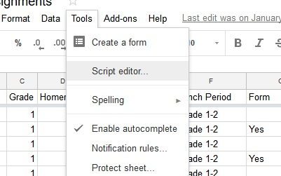 The tools menu showing the script editor link